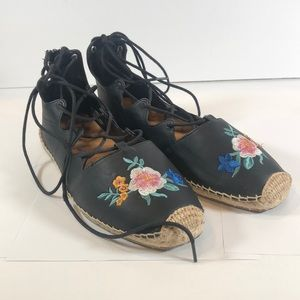 Comfortview Black Embroidered Floral Flats 11M